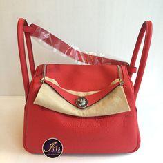 """กระเป๋า Hermés Lindy 26 Clemence Rouge Tomate PHW """"Stamp X"""" Full Set ของใหม่พร้อมส่ง‼️ - Iris Shop"""