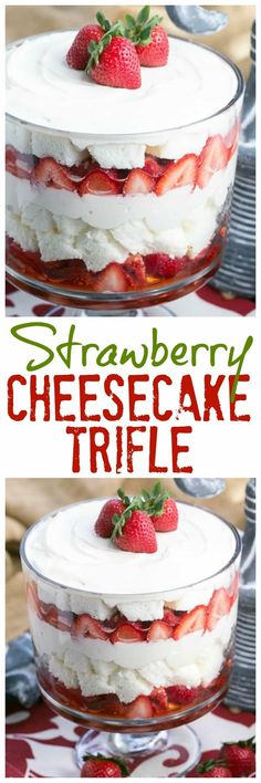 Strawberry Cheesecake Trifle #trifle #strawberry #desserts #nobake | Layers of angel food cake, boozy berries and cream cheese filling