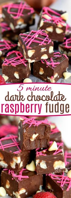 Fudge doesn't get better or easier than this Dark Chocolate Raspberry Fudge. It's the perfect quick treat for any occasion! Incredibly decadent and gorgeous to boot this easy fudge recipe takes just 5 minutes to make! That can be our little secret… // Mom On Timeout #fudge #raspberry #easy #sweetenedcondensedmilk #dark #chocolate #valentinesday #valentines #christmas #candy