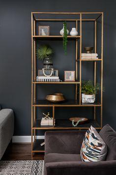 Home Decor Luxury Piedmont Heights: A Contemporary Home in Atlanta - Design Milk Modern Bookshelf, Bookshelf Design, Gold Bookshelf, Gold Shelves, Living Room Designs, Living Room Decor, Bedroom Decor, Home Interior, Interior Design