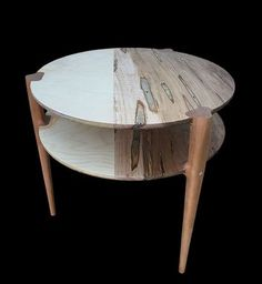 Custom Made 2-Tiered Baltic Birch / Wormy Maple Round Side Table - Cherry Legs