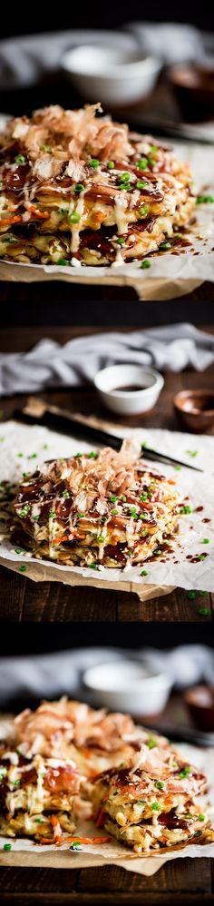 Okonomiyaki - Delightful savory Japanese pancakes made from an easy to make batter, cabbage and bacon topped with Japanese mayo and okonomiyaki sauce.