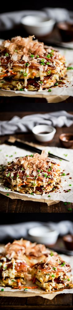 Okonomiyaki - Delightful savory Japanese pancakes made from an easy to make batter, cabbage and bacon topped with Japanese mayo and okonomiyaki sauce.