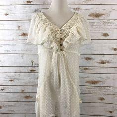Daniel Rainn Prarrie Top Semi Sheer Shirt Sleeveless Pockets Lace LARGE EUC    eBay