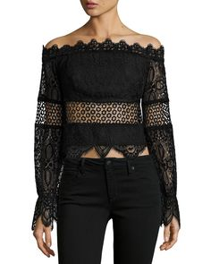 Kendall + Kylie Off-the-Shoulder Lace Crop Top Lacy Tops, Lace Crop Tops, White Off Shoulder Top, 2 Piece Outfits, Long Sleeve Crop Top, Kendall, Kylie, White Lace, White White