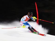Sochi 2014 Day 16 - Alpine Skiing Men's Slalom Run Mario Matt of Austria in action in the second run during the Men's Slalom