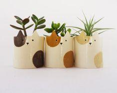 Ceramic Planter, Cat Pot with Ochre Spots, Sculpture, Pottery