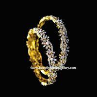 Semi Floral Design Diamond Bangles