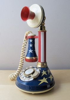 *CANDLESTICK TELEPHONE ~ Stars and stripes, rotary