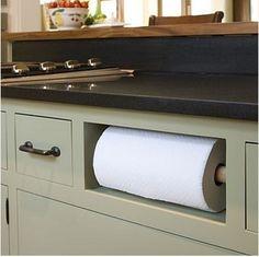 Under-counter paper towel holder... idea for kitchen island