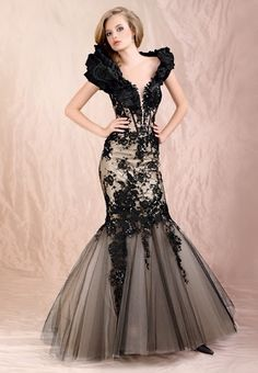 Black organza lace overlay Fishtail Wedding Gown| Mermaid Wedding Gown