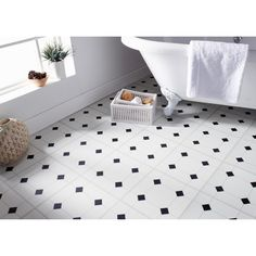 Self Adhesive Floor Tiles - Black & White Diamond Effect. These stylish black & white vinyl tiles create a contemporary look for any space. 11pk. Size: 1M₂