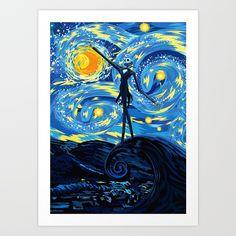 Jack Starry night Art Print @pointsalestore #society6  #artprint #Digital#Pattern #Popart #JackSkellingtons #Nightmare #Christmas #Cartoons #Parody #Skull #Tattoo #Vangogh #Starrynight #Fullmoon #Bone #Diadelosmuertos #Dayofthedead #Mexico #Lol