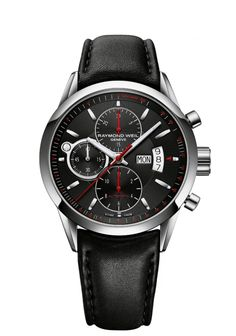 Freelancer 7730-STC-20041 Mens Watches - Automatic chronograph Steel on black leather strap black dial | RAYMOND WEIL Genève Luxury Watches Check out this Mens Freelancer watch from RAYMOND WEIL
