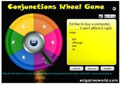 Conjunctions Wheel Game is an interactive online grammar game from ESL Games World which will allow us to revise and put to the test our k. Teaching Language Arts, Classroom Language, Teaching Aids, Teaching Writing, Primary Teaching, Teaching Resources, Teaching Spanish, Teaching Tools, Grammar Sentences