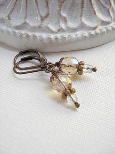 Crystal Dangle Earrings In Antiqued Brass. by AnechkasJewelry, $14.00