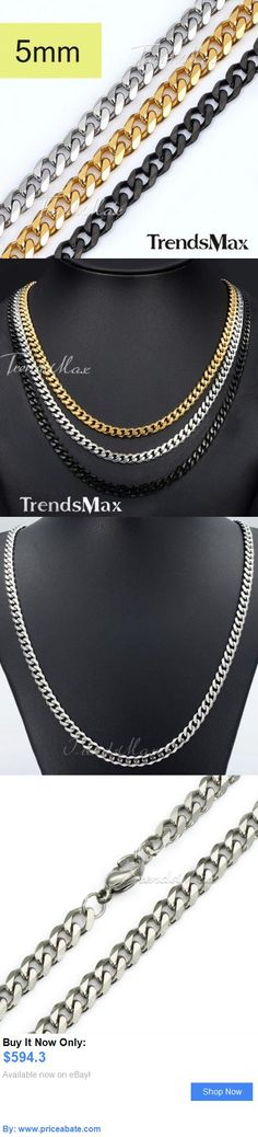 Men Jewelry: 5Mm Mens Chain Boys Curb Link Silver Gold Black Stainless Steel Necklace 18-36 BUY IT NOW ONLY: $594.3 #priceabateMenJewelry OR #priceabate