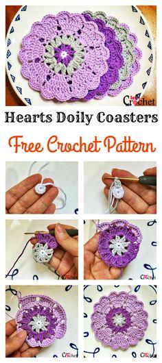 Crochet Hearts Doily Flower Coasters Free Pattern