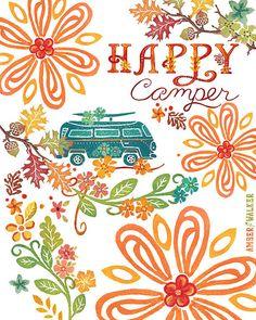FREE Shipping until Oct. 31, 2013!!! Happy Camper vertical print on fine art paper by Amber Walker of WeWalkWest Studio, $8.00