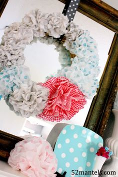 tissue paper flower wreath