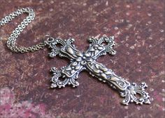 Vintage sterling silver cross pendant very ornate with florals vintage sterling silver cross pendant very ornate with florals sterling silver cross pendant aloadofball Image collections