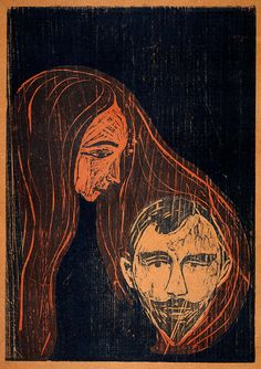 Man's Head in Woman's Hair 1896 Edvard Munch (Norwegian, Edvard Munch, Modern Art Movements, Modern Art Paintings, Paul Gauguin, Art For Art Sake, Animal Tattoos, Gravure, Funny Art, Les Oeuvres