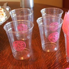 Custom Monogrammed Disposable Cups - Party, Baby Shower, Wedding Shower, Gender Reveal, Birthday Party, Personalized