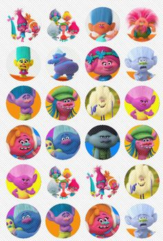 Trolls Movie Digital MIni Bottle Cap Images Confetti Instant Download Party Supply Birthday Party 12mm Circle