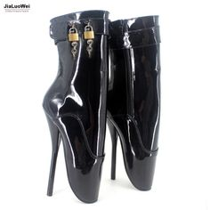 "2017 New Extreme 18cm 7"" High Spike Heel padlocks Fashion Fetish Sexy Thin Heel Patent Leather Ankle Strap Ballet Boots"