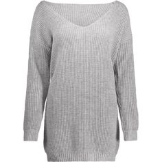 Oversized V Neck Chunky Sweater Gray ($24) ❤ liked on Polyvore featuring tops, sweaters, grey sweater, v-neck tops, grey top, oversized gray sweater and over sized sweaters