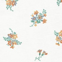 Vintage Laura Ashley, Coral and Blue Flowers on Off-white Background