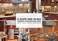 PHOTO ID #: 6183 Brown kitchen cabinets and brown quartzkitchencountertops with slate stone & glass tile mixed brick style backsplash tile. SOME OF OUR POPULAR PRODUCTS MORE GLASSBACKSPLASH IDEAS