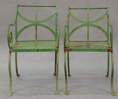 Set of eight French iron outdoor armchairs. ~ Realized Price $2160.00
