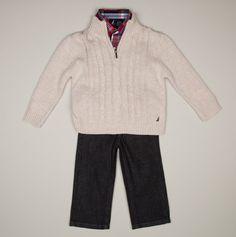 Infant 3PC Woven Sweater and Denim Pant Set