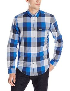 BOSS Green Men's Large Plaid Long Sleeve Button Down Shirt, Blue, Medium Men's Fashion *** See this great product.