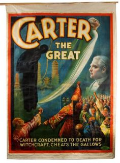 "Lot: ""Carter the Great"" 8-Sheet canvas sideshow poster, Lot Number: 0120, Starting Bid: $3,000, Auctioneer: California Auctioneers, Auction: New Year 2017 Estates Auction, Date: January 29th, 2017 PST"
