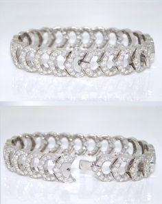 "CARTIER 18k WHITE GOLD FULL 216 DIAMOND ""C DE CARTIER"" BRACELET ~6.70tcw~ 7 INCH | eBay"