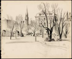 "Sketch of Boston Public Garden (from Sketchbook drawings by Robert McCloskey for ""Make Way for Ducklings"" from the collection of the Boston Public Library)"