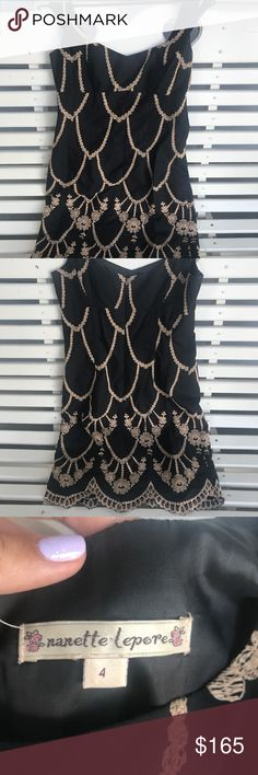 😍ELEGANT NANETTE LEPORE DRESS♥️ This STUNNING head-turner will make you stand apart in ANY crowd. This black dress is hand-embroidered with golden flowers and chain-like design. Hard to part with this item but it deserves a loving new home. 🤗✨ 100% cotton-- OFFERS WELCOMED!♥️ Nanette Lepore Dresses Mini