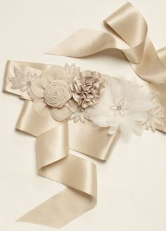 Complete your wedding look with the perfect bridal sash & belt! David's Bridal offers pretty wedding belts and sashes in various styles & designs. Diy Wedding Sash, Bridal Sash Belt, Wedding Belts, Wedding Stuff, Wedding Ideas, Wedding Dresses, Bridal Belts, Wedding Garter, Wedding Crafts