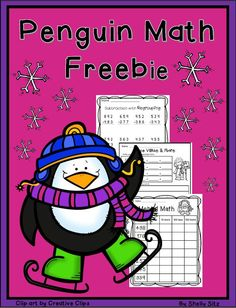 Penguin grade math---FREE--mental math, addition and subtraction and place value--free math worksheets for second grade Math Resources, Math Activities, Math Worksheets, Winter Activities, Math Games, Math 2, Free Math, Kids Math, Math Stations