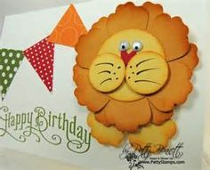 Punch Art Lion for childs birthday card - Patty's Stamping Spot