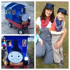 Coolest Homemade Edward the Blue Engine Train Costume (Thomas the Tank Engine)