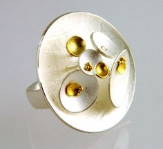 Dot Sim - FlourishRing in silver, 18ct and 24ct yellow gold and diamond