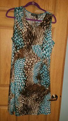 ***WEEKEND SALE***Effortless Style Summer Dress, Teal, Brown Animal Print, sz L #EffortlessStyle #Sheath