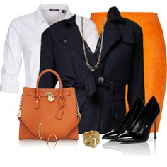 """Black, Gold & Orange"" by daiscat on Polyvore"