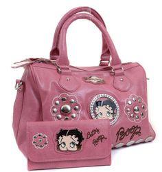 Amazon.com: Betty Boop Pink Faux Crinkle Leather Rhinestone Studded Handbag & Wallet Set: Clothing