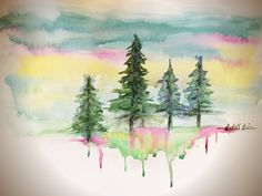 Shimmerz Paints: Watercolour treescapes with Shimmerz watercolour collections