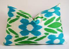 NEW Sale - Green Blue Beige Ikat Pillow - Green Ikat Pillow - Green Decorative Throw Pillows Home And Living Sofa Pillows Ikat Pillow Green