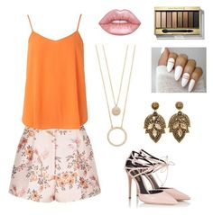 """""""orange & pale pink🍊🌸"""" by abbeyelizabeth5 ❤ liked on Polyvore featuring STELLA McCARTNEY, Dorothy Perkins, Fratelli Karida, Max Factor and Kate Spade"""